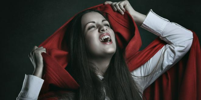 a woman dressed as a vampire