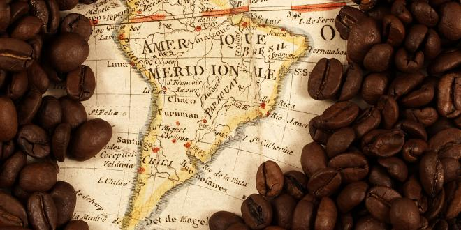 a historic map covered in coffee beans